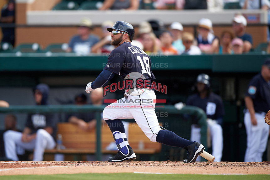 Detroit Tigers right fielder Tyler Collins (18) at bat during an exhibition game against the Florida Southern Moccasins on February 29, 2016 at Joker Marchant Stadium in Lakeland, Florida.  Detroit defeated Florida Southern 7-2.  (Mike Janes/Four Seam Images)