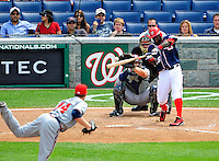 4 July 2009: Washington Nationals shortstop Cristian Guzman in action against the Atlanta Braves at Nationals Park in Washington, DC. The Nationals rallied with 4 runs in the 8th to defeat the Braves 5-3 and take the second game of the 3-game weekend series. Mandatory Credit: Ed Wolfstein Photo