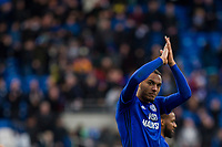 Kenneth Zohore of Cardiff City claps the fans at full time of the Sky Bet Championship match between Cardiff City and Middlesbrough at the Cardiff City Stadium, Cardiff, Wales on 17 February 2018. Photo by Mark Hawkins / PRiME Media Images.