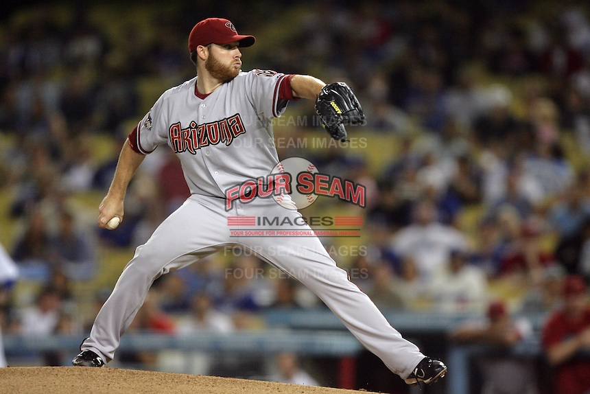 Arizona Diamondbacks pitcher Ian Kennedy #31 pitches against the Los Angeles Dodgers at Dodger Stadium on September 13, 2011 in Los Angeles,California. Arizona defeated Los Angeles 5-4.(Larry Goren/Four Seam Images)