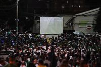 Campinas (SP), 16/03/2020 - Guarani-Ponte Preta - Torcedores do Guarani acompanham jogo em telao montado em frente ao estadio Brinco de Ouro, nesta segunda-feira (16), em partida contra a Ponte Preta pelo Campeonato Paulista. A partida tera portoes fechados devido a determinacao em protecao a transmissao do Coronavirus (Covid-19). (Foto: Luciano Claudino/Codigo 19/Codigo 19)