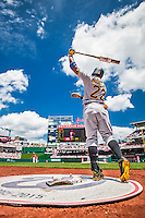 21 June 2015: Pittsburgh Pirates outfielder Andrew McCutchen takes a swing on deck during play against the Washington Nationals at Nationals Park in Washington, DC. The Nationals defeated the Pirates 9-2 to sweep their 3-game weekend series, and improve their record to 37-33. Mandatory Credit: Ed Wolfstein Photo *** RAW (NEF) Image File Available ***