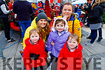 Twins Madelaine and Kenzie O'Shea with Carly O'Shea and  Chelsea Barry and Noelle O'Shea standing, enjoying the festive fun at the Snow Day in the square in Tralee on Saturday.