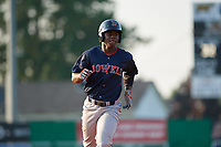Lowell Spinners Gilberto Jimenez (32) running the bases during a NY-Penn League game against the Batavia Muckdogs on July 10, 2019 at Dwyer Stadium in Batavia, New York.  Batavia defeated Lowell 8-6.  (Mike Janes/Four Seam Images)