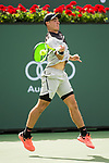 March 09, 2018: Ernesto Escobedo (USA) hits a forehand as he defeated Frances Tiafoe (USA) 7-5, 6-3 at the BNP Paribas Open played at the Indian Wells Tennis Garden in Indian Wells, California. ©Mal Taam/TennisClix/CSM