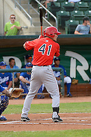 Mark Shannon (41) of the Orem Owlz at bat against the Ogden Raptors at Lindquist Field on July 07, 2013 in Ogden Utah. (Stephen Smith/Four Seam Images)