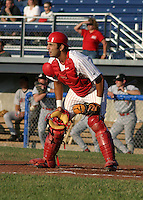 June 30, 2003:  catcher Jose Cortez (15) of the Batavia Muckdogs during a game at Dwyer Stadium in Batavia, New York.  Photo by:  Mike Janes/Four Seam Images