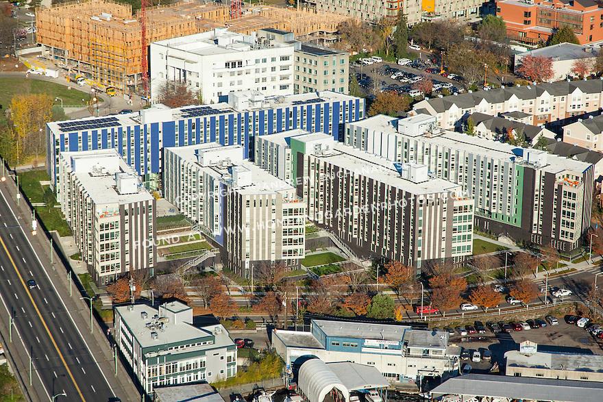 Aerial photo of Mercer Court Apartments at the University of Washington