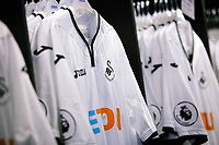 Pictured: Home shirts. Saturday 01 July 2017<br /> Re: The new 2017-2018 season, Swansea City FC kit has officially gone on sale at the club's Liberty Stadium shop, Wales, UK