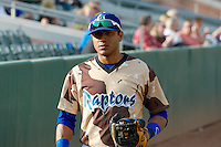 Jesmuel Valentin (9) of the Ogden Raptors prior to the game against the Great Falls Voyagers at Lindquist Field on August 16, 2013 in Ogden Utah. Military Appreciation Night saw the Raptors take the field in camouflage uniforms. (Stephen Smith/Four Seam Images)