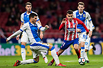 Angel Correa (R) of Atletico de Madrid is tackled by Ezequiel Matias Munoz of CD Leganes during the La Liga 2017-18 match between Atletico de Madrid and CD Leganes at Wanda Metropolitano on February 28 2018 in Madrid, Spain. Photo by Diego Souto / Power Sport Images
