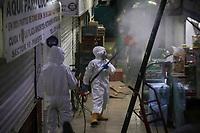 MEDELLIN - COLOMBIA, 13-04-2020: Jornada de desinfección de la plaza Minorista de Medellín durante el día 21 de la cuarentena total en el territorio colombiano causada por la pandemia  del Coronavirus, COVID-19. / Disinfection of the retail market place of Medellin of during day 21 of total quarantine in Colombian territory caused by the Coronavirus pandemic, COVID-19. Photo: VizzorImage / Leon Monsalve / Cont