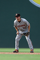 Shortstop Adam Hall (10) of the Delmarva Shorebirds plays defense in a game against the Greenville Drive on Friday, August 2, 2019, in the continuation of rain-shortened game begun August 1, at Fluor Field at the West End in Greenville, South Carolina. Delmarva won, 8-5. (Tom Priddy/Four Seam Images)
