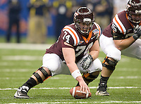 Andrew Miller of Virginia Tech in action during Sugar Bowl game against Michigan at Mercedes-Benz SuperDome in New Orleans, Louisiana on January 3rd, 2012.  Michigan defeated Virginia Tech, 23-20 in first overtime.