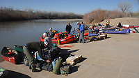 Sixteen people from the Northwest Arkansas area, using 12 canoes and a raft carrying four, paddled 83.5 miles of the San Juan River from the Sand Island Boat Ramp near Bluff, Ut., to Clay Hills Crossing, UT. in early April 2021. Check out nwaonline.com/210608Daily/ and nwadg.com/photos for a photo gallery.<br /> (NWA Democrat-Gazette/David Gottschalk)