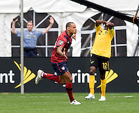 Jermaine Jones (13) of the USMNT celebrates his goal during the game at RFK Stadium in Washington, DC.  The USMNT defeated Jamaica, 2-0.