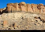 Petroglyph Cliffs over Una Vida Chacoan Great House, Anasazi Hisatsinom Ancestral Pueblo Site, Chaco Culture National Historical Park, Chaco Canyon, Nageezi, New Mexico