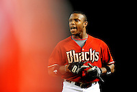 Jul. 28, 2009; Phoenix, AZ, USA; Arizona Diamondbacks outfielder Justin Upton yells after popping out in the third inning against the Philadelphia Phillies at Chase Field. Mandatory Credit: Mark J. Rebilas-