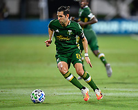 LAKE BUENA VISTA, FL - JULY 18: Diego Valeri #8 of the Portland Timbers turns away from pressure during a game between Houston Dynamo and Portland Timbers at ESPN Wide World of Sports on July 18, 2020 in Lake Buena Vista, Florida.