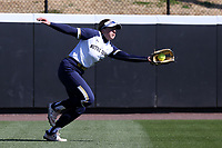 DURHAM, NC - FEBRUARY 29: Emma Clark #15 of the University of Notre Dame catches the ball during a game between Notre Dame and Duke at Duke Softball Stadium on February 29, 2020 in Durham, North Carolina.