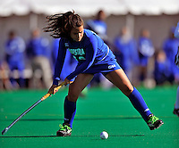 24 October 2008: Hofstra University Pride defenseman Katy Vitolo, a Senior from Somers, NY, in action against the University of Vermont Catamounts at Moulton Winder Field, in Burlington, Vermont. The Catamounts shut out the visiting Pride 3-0...Mandatory Photo Credit: Ed Wolfstein Photo
