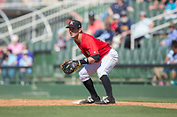 Kannapolis Intimidators first baseman Grant Massey (28) on defense against the Asheville Tourists at Kannapolis Intimidators Stadium on May 7, 2017 in Kannapolis, North Carolina.  The Tourists defeated the Intimidators 4-1.  (Brian Westerholt/Four Seam Images)