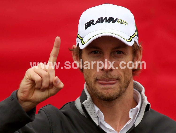 **ALL ROUND PICTURES FROM SOLARPIX.COM**.**NO UK NEWSPAPER PUBLICATION**.**UK MAGAZINE & SUPPLEMENT PUBLICATION ONLY** AND NO PUBLICATION IN AUSTRALIA, FRANCE, GERMANY, ITALY AND SCANDINAVIA** .Newly-crowned Formula One world champion Jenson Button at the Bluewater Shopping Centre. The 29-year-old drove a Mercedes SL AMG around a temporary race circuit just days after clinching his first F1 title by finishing fifth at Sunday's Brazilian grand prix, to launch Virgin Media's new high speed 50MB broadband and speedweek50 to celebrate their new F1 sponsorship. London, UK. 20 October 2009...This pic: Jenson Button..JOB REF: 10155 SFE       DATE: 20_10_2009.**MUST CREDIT SOLARPIX.COM OR DOUBLE FEE WILL BE CHARGED**.**MUST NOTIFY SOLARPIX OF ONLINE USAGE**.**CALL US ON: +34 952 811 768 or LOW RATE FROM UK 0844 617 7637**