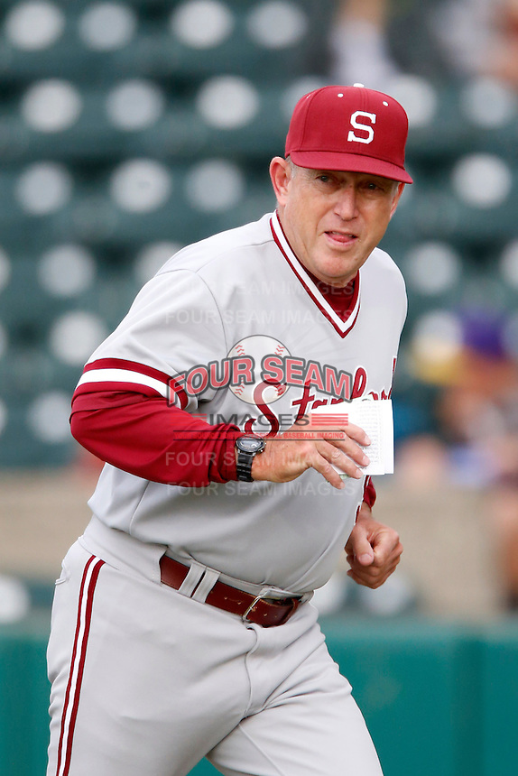 Stanford Cardinal Head Coach Mark Marquess #9 during a game against the USC Trojans at Dedeaux Field on April 5, 2013 in Los Angeles, California. (Larry Goren/Four Seam Images)
