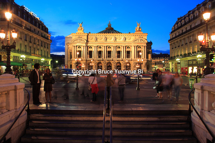 France Paris. Twilight view of Opera de Paris Garnier. City of Paris. Paris France
