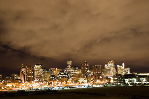Downtown skyline at night from the west, Denver, Colorado. .  John offers private photo tours in Denver, Boulder and throughout Colorado. Year-round Colorado photo tours.