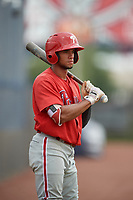 GCL Phillies East Luis Matos (25) on deck during a Gulf Coast League game against the GCL Yankees East on July 31, 2019 at Yankees Minor League Complex in Tampa, Florida.  GCL Phillies East defeated the GCL Yankees East 4-3 in the second game of a doubleheader.  (Mike Janes/Four Seam Images)
