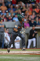Marcos Derkes (1) of the Boise Hawks bats during a game against the Hillsboro Hops at Ron Tonkin Field on August 21, 2015 in Hillsboro, Oregon. Boise defeated Hillsboro, 7-1. (Larry Goren/Four Seam Images)