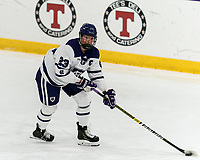WORCESTER, MA - FEBRUARY 08: Antonia Matzka #23 of Holy Cross looks to pass during a game between Boston University and College of the Holy Cross at Hart Center Rink on February 08, 2020 in Worcester, Massachusetts.
