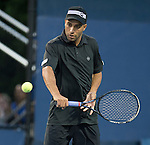James Blake (USA) partners with Jack Sock (USA) in doubles at the US Open being played at USTA Billie Jean King National Tennis Center in Flushing, NY on August 29, 2013