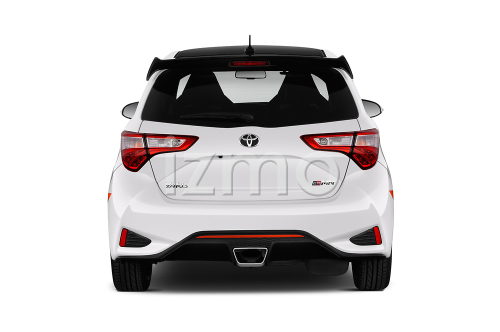 Straight rear view of a 2018 Toyota Yaris GRMN 3 Door Hatchback stock images