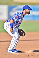 Tennessee Smokies third baseman Tommy La Stella (2) during a game against the Birmingham Barons on August 2, 2015 in Kodak, Tennessee. The Smokies defeated the Barons 5-2. (Tony Farlow/Four Seam Images)
