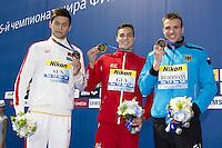 (L to R) SUN Yang CHN silver medal; GUY James GBR Gold Medal; BIEDERMANN Paul GER <br /> podium 200 Freestyle men<br /> Swimming Nuoto Kazan Arena<br /> Day12 04/08/2015 Evening Finals<br /> XVI FINA World Championships Aquatics Swimming<br /> Kazan Tatarstan RUS July 24 - Aug. 9 2015 <br /> Photo G.Scala/Deepbluemedia/Insidefoto