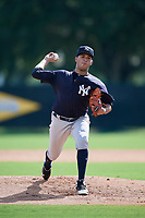 GCL Yankees West starting pitcher Anderson Reynoso (29) delivers a pitch during the first game of a doubleheader against the GCL Braves on July 30, 2018 at Champion Stadium in Kissimmee, Florida.  GCL Yankees West defeated GCL Braves 7-5.  (Mike Janes/Four Seam Images)