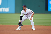 Charlotte Hornets first baseman Daniel Palka (7) on defense against the Louisville Bats at BB&T BallPark on June 22, 2019 in Charlotte, North Carolina. The Hornets defeated the Bats 7-6. (Brian Westerholt/Four Seam Images)