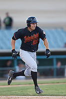 Seth Mejias-Brean #27 of the Bakersfield Blaze runs to first base during a game against the Lancaster JetHawks at The Hanger on May 13, 2014 in Lancaster California. Lancaster defeated Bakersfield, 1-0. (Larry Goren/Four Seam Images)