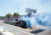 Sep 15, 2019; Mohnton, PA, USA; NHRA top fuel driver Mike Salinas during the Reading Nationals at Maple Grove Raceway. Mandatory Credit: Mark J. Rebilas-USA TODAY Sports