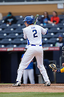 Zack Kone (2) of the Duke Blue Devils at bat against the California Golden Bears at Durham Bulls Athletic Park on February 20, 2016 in Durham, North Carolina.  The Blue Devils defeated the Golden Bears 6-5 in 10 innings.  (Brian Westerholt/Four Seam Images)