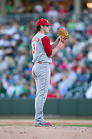North Carolina State Wolfpack starting pitcher Ryan Williamson (3) looks to his catcher for the sign against the Charlotte 49ers at BB&T Ballpark on March 31, 2015 in Charlotte, North Carolina.  The Wolfpack defeated the 49ers 10-6.  (Brian Westerholt/Four Seam Images)