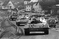 - NATO exercises in Germany, German Army Leopard  tanks in a village (January 1985)<br /> <br /> - esercitazioni NATO in Germania, carri armati Leopard dell'esercito tedesco in un villaggio (gennaio 1985)