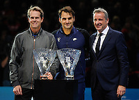 Roger Federer (SUI) with coach Stefan Edberg and ATP President Chris Kermode collects the ATP Fan's Favourite and Sportsmanship award during Day One of the Barclays ATP World Tour Finals 2015 played at The O2, London on November 15th 2015