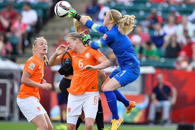 Netherland goalkeeper Loes Geurts (1) makes a save during first half of Women's World Cup Soccer match, Saturday June 06, 2015 in Edmonton, Alberta. (Mo Khursheed/TFV Media via AP Images)