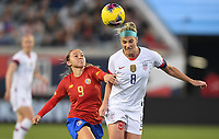 JACKSONVILLE, FL - NOVEMBER 10: Julie Ertz #8 of the United States beats Gloriana Villalobos #9 of Costa Rica to the  ball during a game between Costa Rica and USWNT at TIAA Bank Field on November 10, 2019 in Jacksonville, Florida.