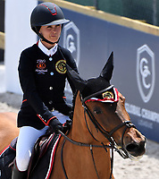MIAMI BEACH, FL - APRIL 15: Georgina Bloomberg at the Longines Global Champions Tour stop in Miami Beach - Global Champions League Final - Class 13: Miami Beach 2017 CSI5* 1.55/1.60m. The winner was Kent Farrington (USA), second place was Martin Fuchs (CH)  and third place was Lauren Hough (USA). Also riding but did not make the finals was Georgina Bloomberg, Jessica Rae Springsteen and Jennifer Gates on April 15, 2017 in Miami Beach, Florida.<br /> <br /> People:  Georgina Bloomberg