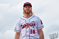 Lansing Lugnuts William Simoneit (18) before a game against the West Michigan Whitecaps on August 24, 2021 at Jackson Field in Lansing, Michigan.  (Mike Janes/Four Seam Images)