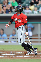 Birmingham Barons left fielder Brandon Jacobs #40 swings at a pitch during game three of the Southern League Northern Division Championship Series against the Tennessee Smokies at Smokies Park on September 7, 2013 in Kodak, Tennessee. The Smokies won the game 9-2. (Tony Farlow/Four Seam Images)